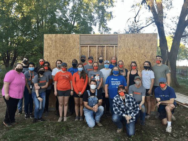The Student Osteopathic Rural Medicine Club (STORM) with students from Tahlequah and Tulsa volunteer for Habitat for Humanity.